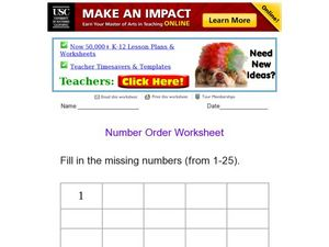 Number Order Worksheet Worksheet