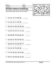 Number Patterns Challenge Worksheet