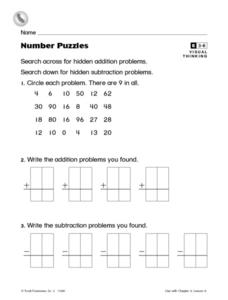Number Puzzles- Visual Thinking Addition and Subtraction Enrichment Worksheet Worksheet