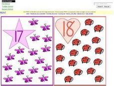 Number Recognition: 17, 18, 19, 20 Worksheet