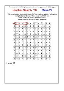 Number Search Y6    Make 24 Worksheet