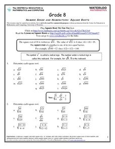Number Sense and Numeration: Square Roots Worksheet