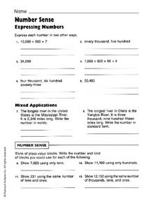 Number Sense: Expressing Numbers Worksheet