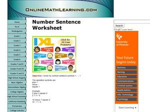Number Sentences Worksheet