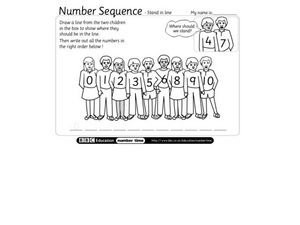 Number sequence - stand in line Worksheet