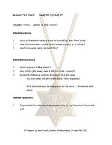 Number the Stars Chapter 3 Worksheet