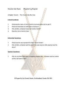Number The Stars: Chapter 7 Worksheet