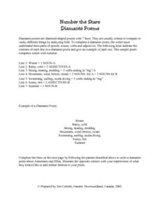 Number The Stars Diamante Poem Lesson Plan