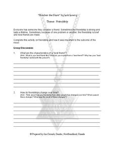 Number the Stars Friendship Worksheet