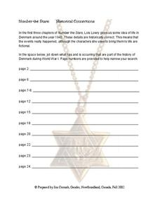 Number the Stars: Historical Connections Worksheet