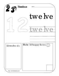 Number Twelve 12 Worksheet