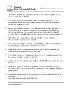 Number: Word Problems 3rd Grade Worksheet