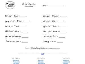 Number Word Subtraction Worksheet