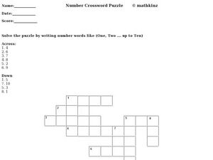 Number Words Crossword Puzzle Worksheet