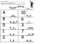Number Words: Missing Letters Worksheet