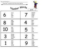 Number Words: Spelling Worksheet
