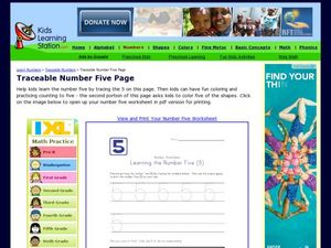 Number Worksheet: Learning the Number Five (5) Worksheet