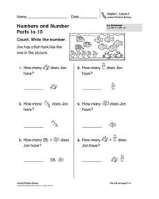 Numbers and Number Parts to 10 Worksheet