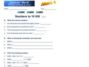 Numbers to 10,000 Worksheet