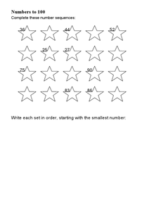 Numbers to 100-- Ordering and Building Numbers Worksheet