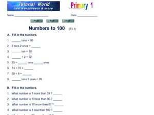 Numbers to 100 Worksheet