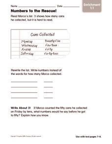 Numbers to the Rescue! Enrichment Worksheet