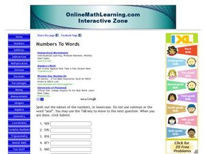 Numbers To Words Worksheet