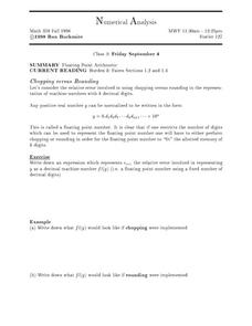Numerical Analysis/ Floating Point Arithmetic Worksheet
