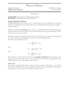 Numerical Analysis:  Introduction to Approximation Theory Worksheet