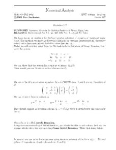 Numerical Analysis:  Iterative Methods for Solving Linear Equations Worksheet