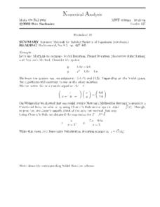 Numerical Analysis:  Iterative Methods for Solving Systems of Equations Worksheet