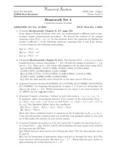Numerical Analysis:  Polynomials Worksheet