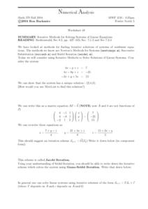 Numerical Analysis:  Systems of Linear Equations Worksheet