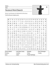 Nunavut Word Search Worksheet