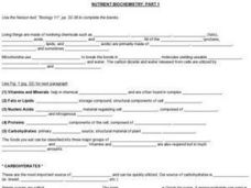 Nutrient Biochemistry Worksheet