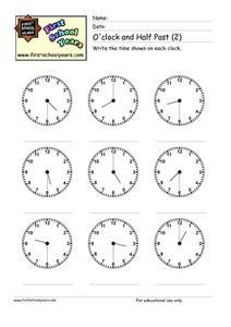 O'Clock and Half Past (2) Worksheet