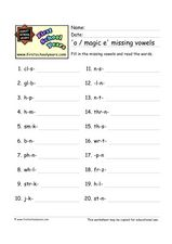 'O / Magic E' Missing Vowels Worksheet