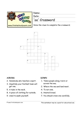 'OA' Crossword Puzzle Worksheet