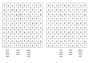 'Oa' Word Search Worksheet