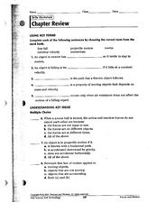 Objects in Motion Worksheet