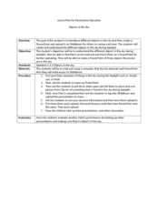 Objects in the Sky Lesson Plan