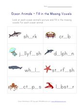 Ocean Animals - Fill in the Missing Vowels Worksheet