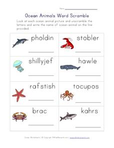Ocean Animals Word Scramble Worksheet
