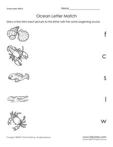 Ocean Letter Match Worksheet