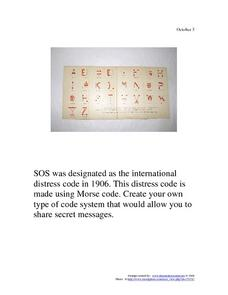 October 3, 1906 - SOS Morse Code Worksheet
