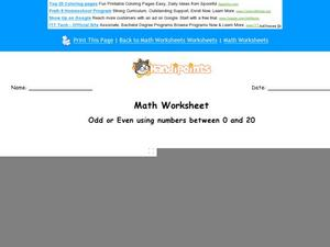 Odd or Even Numbers 0-20 Worksheet