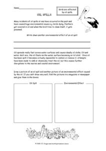 Oil Spills Worksheet