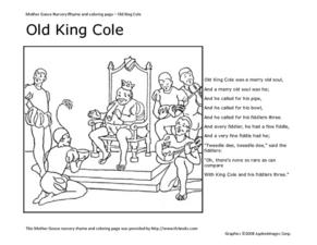 Old king cole kindergarten 2nd grade worksheet lesson for Old king cole coloring page