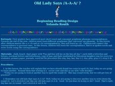 Old Ladies Say A? Lesson Plan