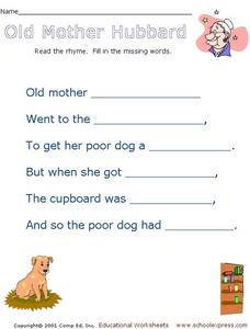 Old Mother Hubbard Worksheet